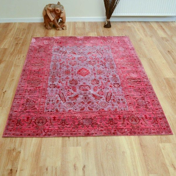 Aqua silk traditional rugs e309c in brown and fuchsia pink buy online from the rug seller uk