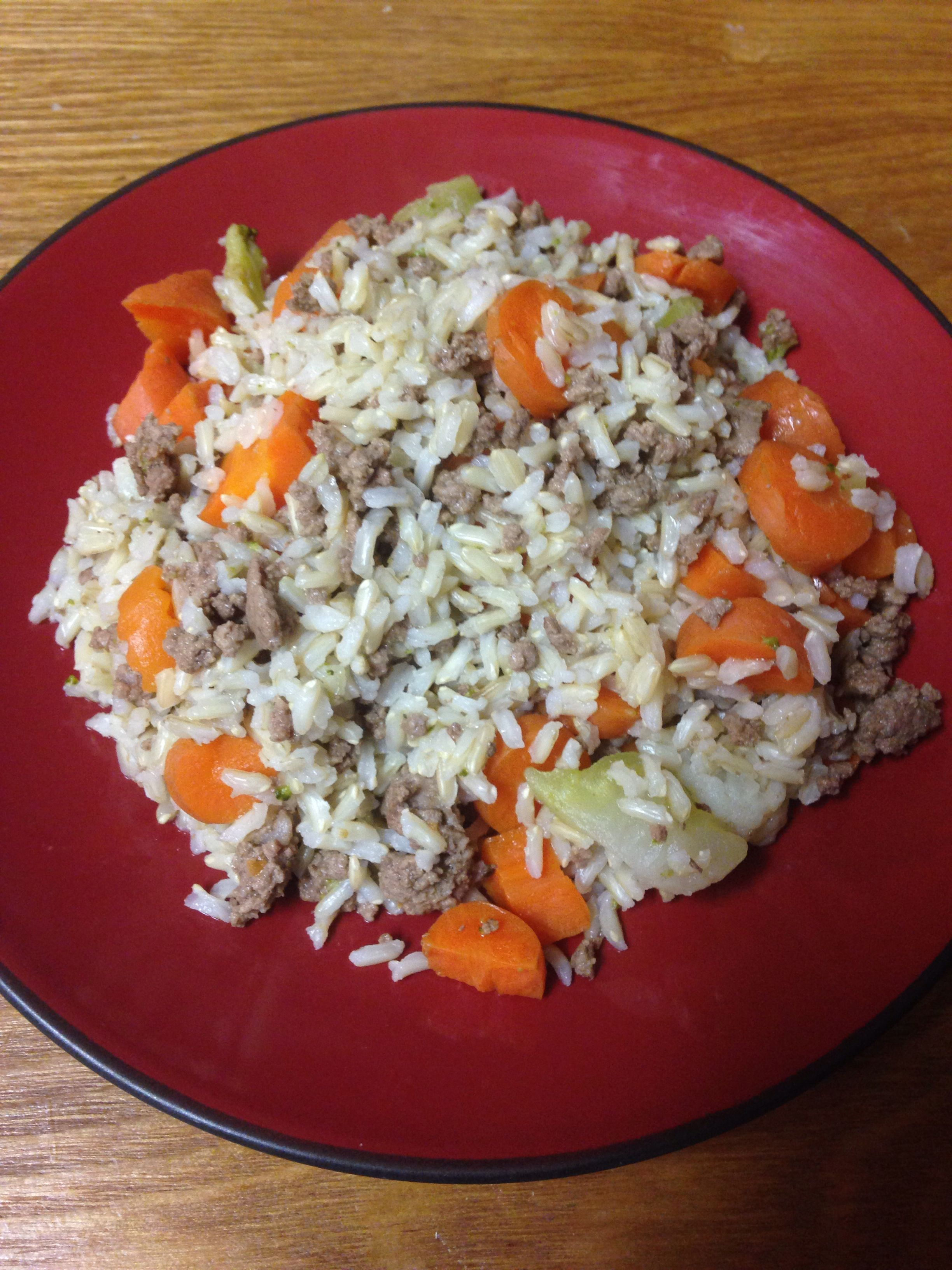 Homemade Dog Food Recipe Brown Rice Carrots Broccoli Cauliflower And Lean Ground Meat Dog Food Recipes Homemade Dog Food Food