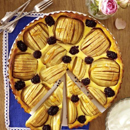 Apfel-Quarktarte mit Brombeeren Rezept | LECKER