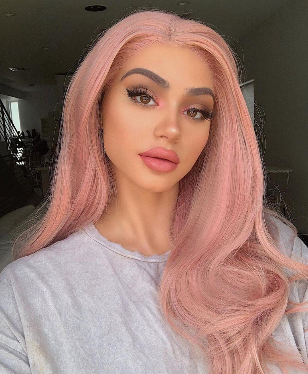 Photo of Lace Front Perücken rosa Perücken für Frauen synthetische Rose Perücke lang gewellt