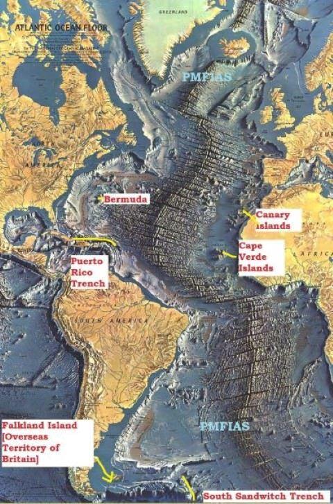Atlantic Ocean relief-trenches | SAkil | Atlantic ocean ... Pacific Ocean Underwater Map