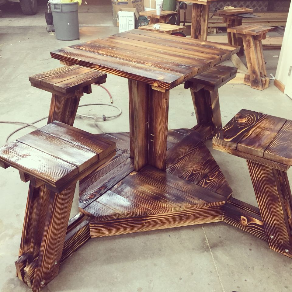 Bar Height Picnic Table With Burn . 2x6 And