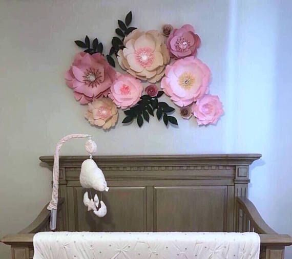 Paper flowers flower backdrop decor wedding bedroom large nursery wall also rh pinterest