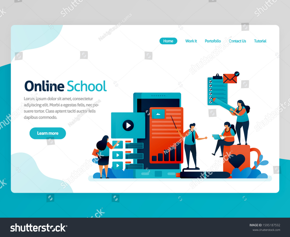 Vector Illustration For Online School Landing Page Mobile Apps For Education And Learning Video Tutorial Onl In 2020 Online School Educational Apps Online Classroom