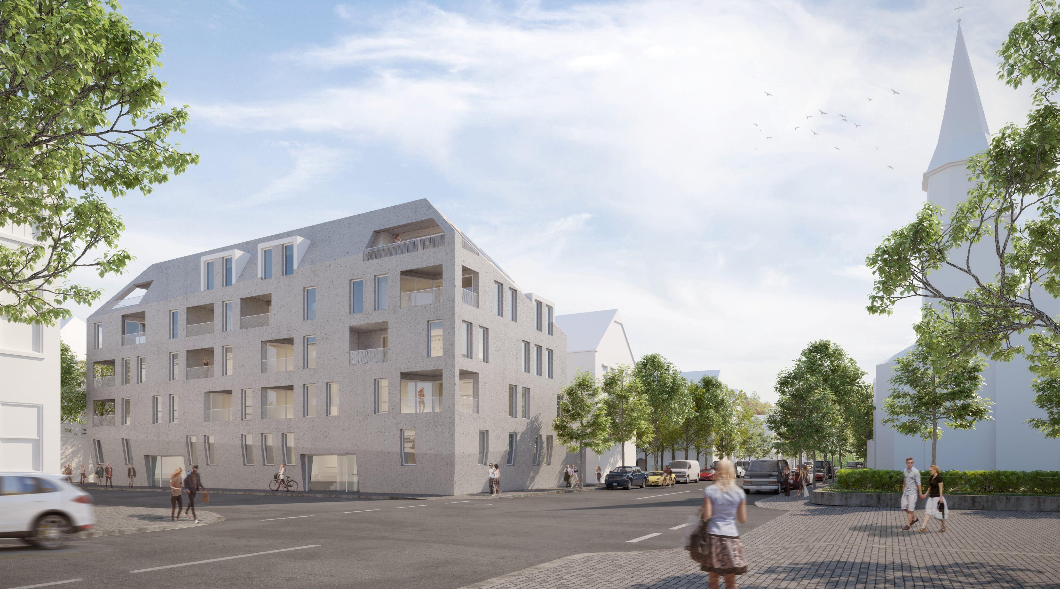 Visualisierung Von Einem Unserer Wohnbauprojekten Architecture Planformat Design Building Rendering Wood Residentialbui Street View Visualisation Views