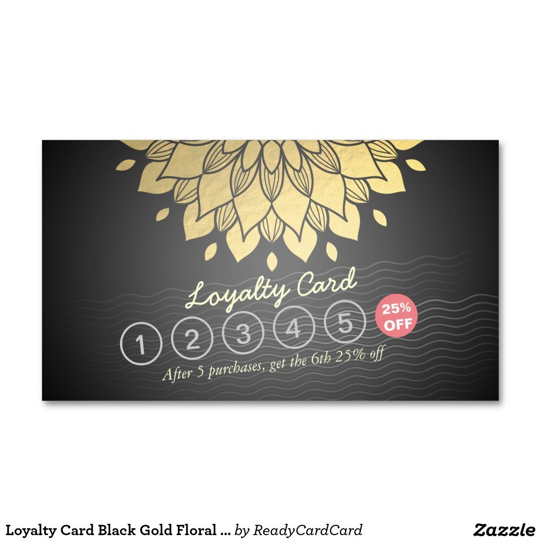 Loyalty Card Black Gold Floral Waves Hair Stylist Business Card ...