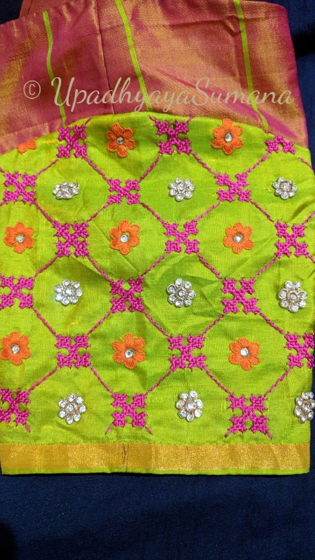 Kutch work pattern for saree blouse sleeves sindhi embroidery