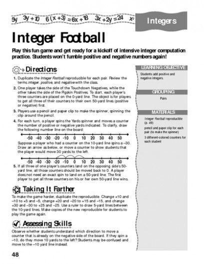 Integer Football Math Fun Worksheets And Worksheets