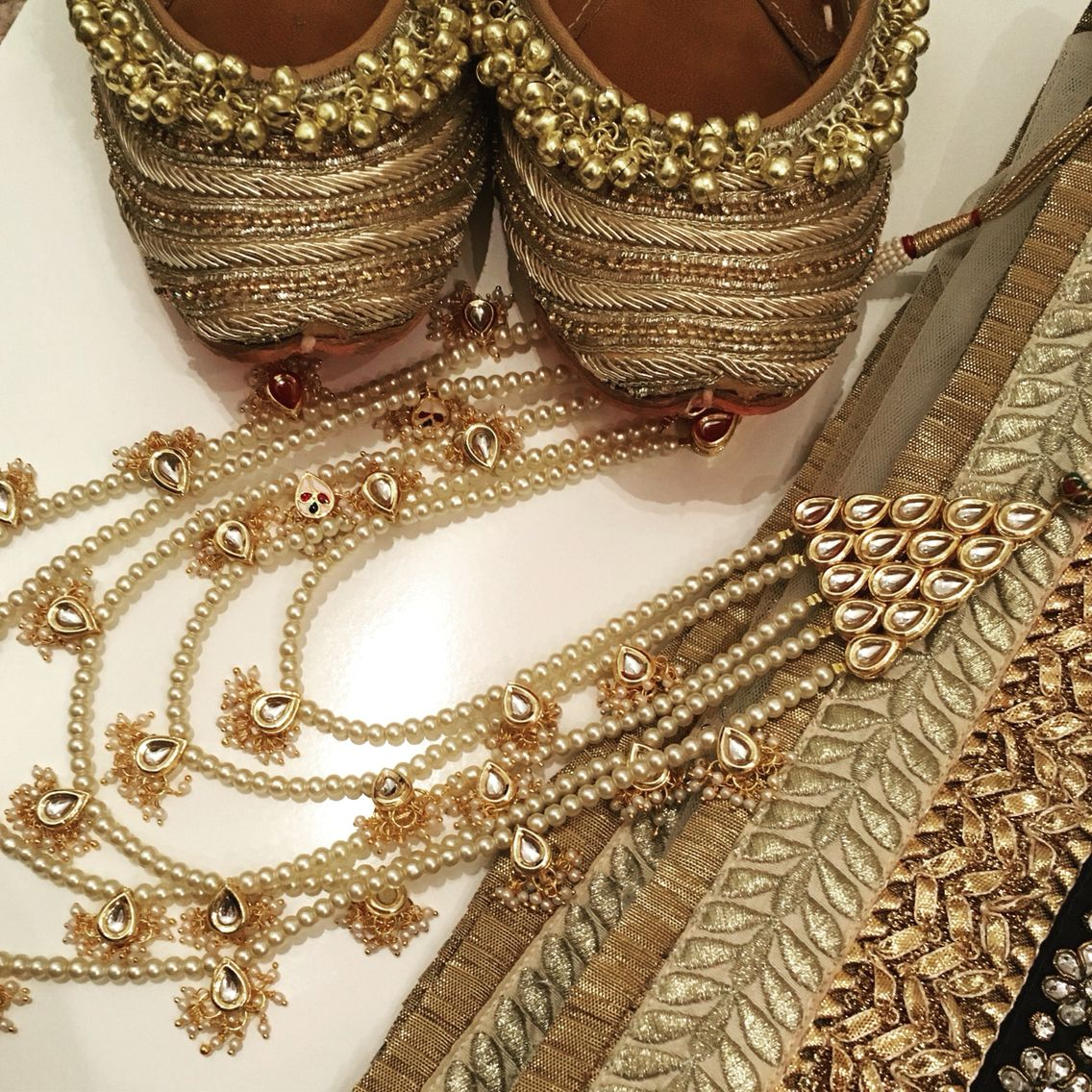 Gold rani haar pictures to pin on pinterest - Gold Accessories By Tyche London Punjabi Juttis And Long Rani Haar Pearl And
