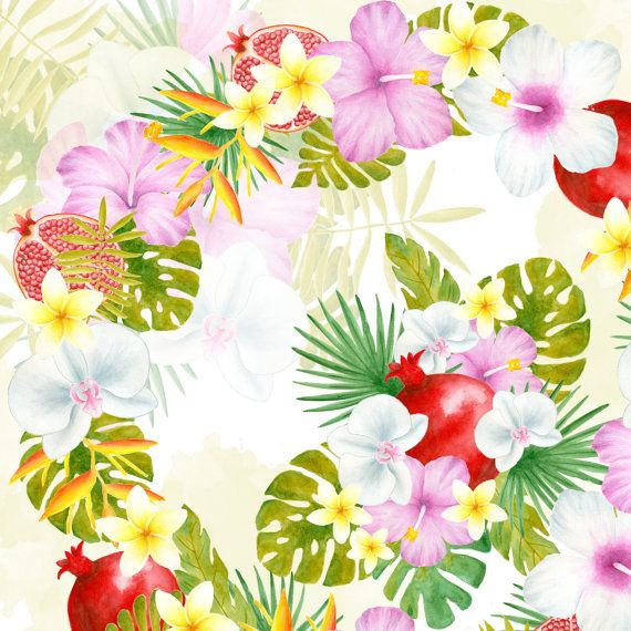 Tropical flower bouquet Watercolor flowers clipart Tropical clipart ...