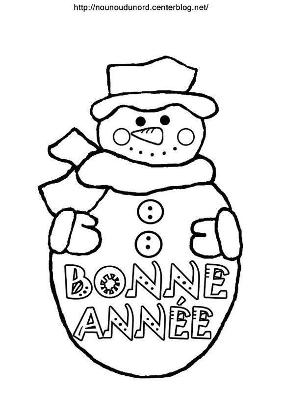 Coloriage Bonhomme De Neige Bonne Année Bonne Année January