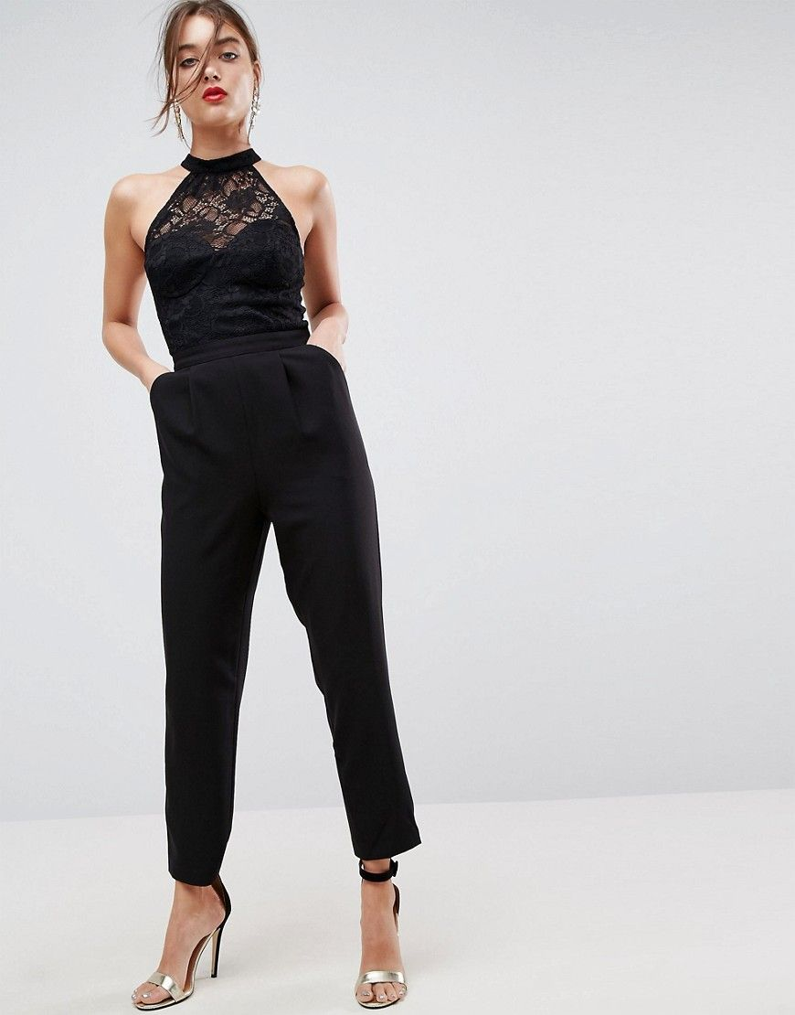 3adf51aab09 ASOS Lace Top Jumpsuit with Halter Neck - Black