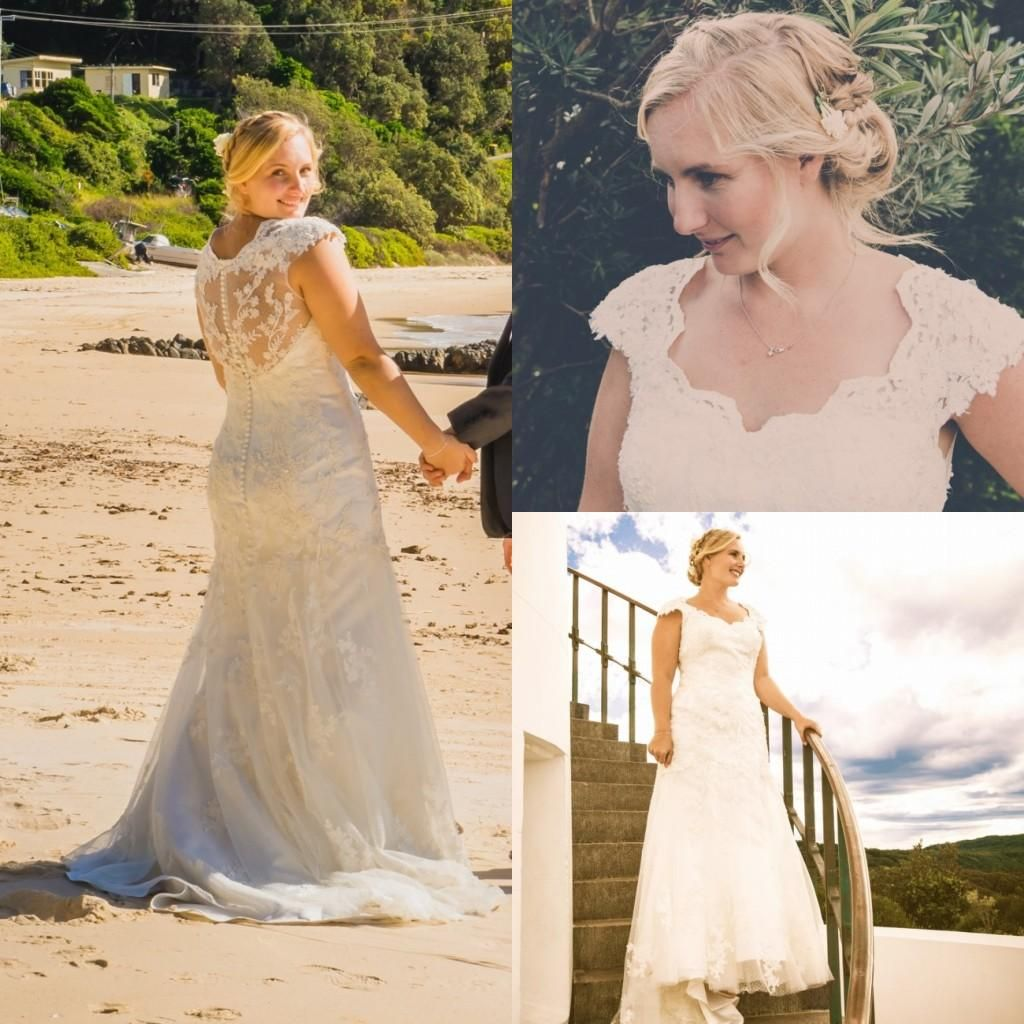 2015 Elegant Lace Wedding Dresses Sheer Lace Back Beach Bridal Gowns A-Line V-Neck Appliques Court Train Plus Size Vintage Wedding Gowns Online with $148.91/Piece on Magicdress2011's Store | DHgate.com