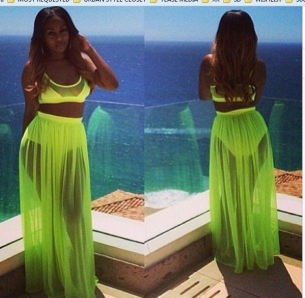 chiffon maxi skirt | skirt mesh sheer chiffon maxi neon green edit ...