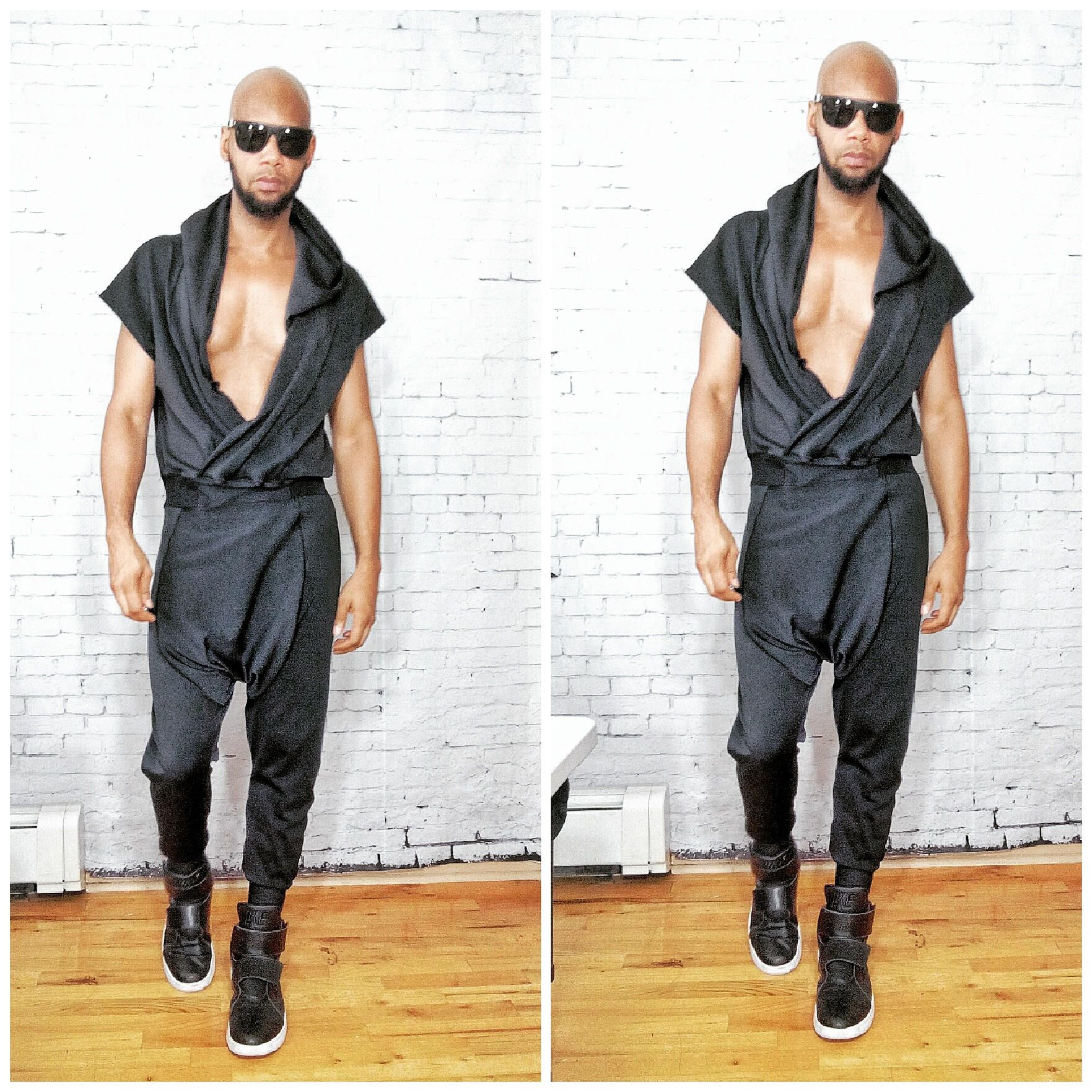 Draped Cowl Neck Harem Pant Woven One piece Sleeveless Back Zip jumpSuit Color - Grey Inspired By- ysl westwood rick owens romper romphim lmEenuNu