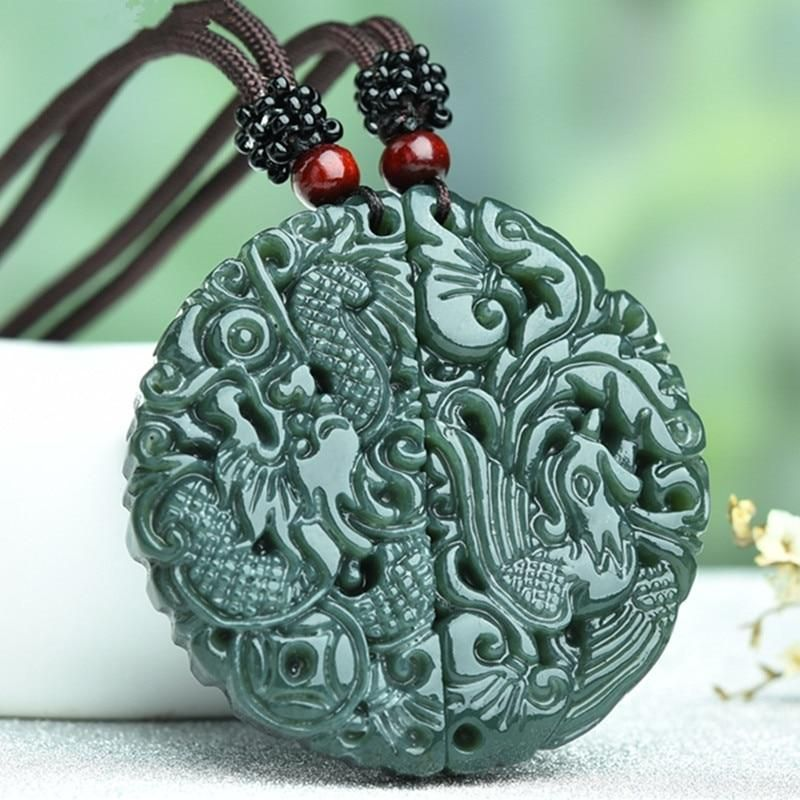 Delicate Chinese old jade Carved Two-sided *dragon//phoenix* pendant