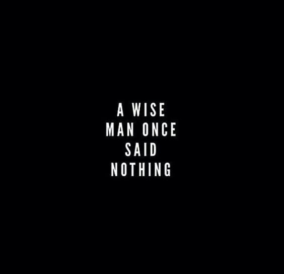 A wise man once said nothing. | Happy life quotes, Words ...