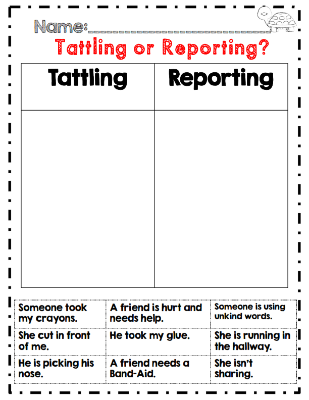 Tattling Or Reporting Back To School 2nd Grade Activity Back To School Activities School Activities 2nd Grade Activities
