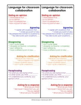 Sentence Frame For Classroom Collaboration Collaborative Starters Paraphrase