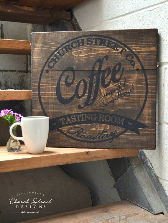 Coffee Decor Coffee Wall Art Customize This Sign With Your Name Or Company Coffee Sign Kitch Coffee Shop Signs Coffee Wall Art Vintage Coffee Signs