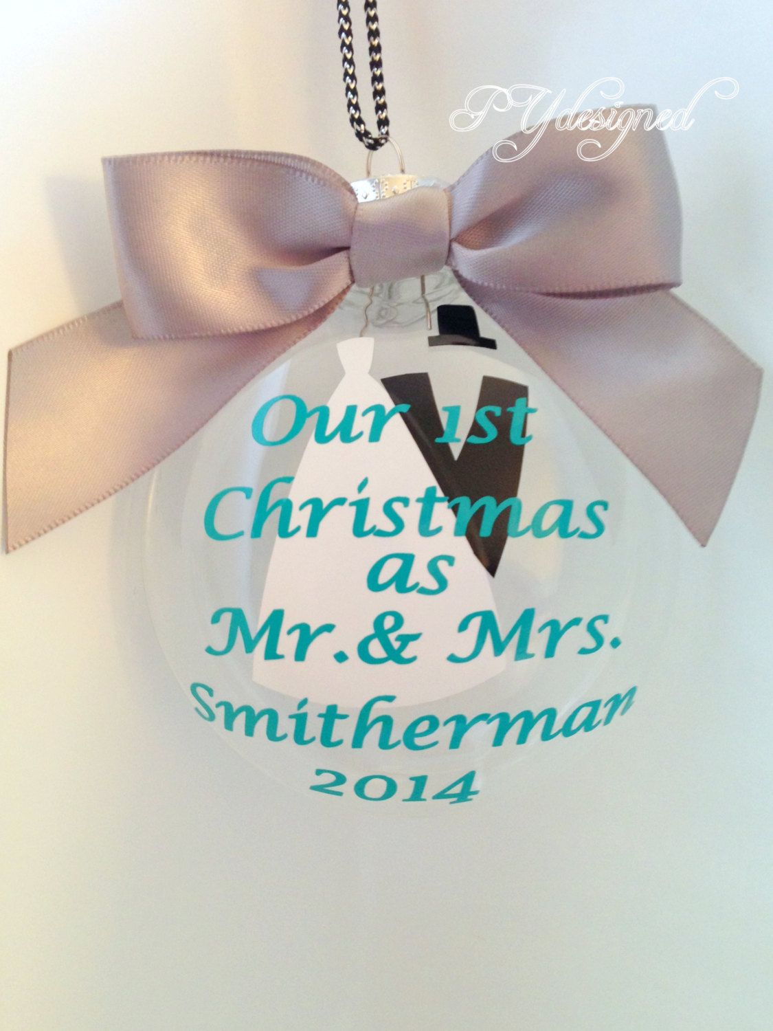 Newlywed ornament - Our First Christmas Ornament Personalized With Gift Box For Newlyweds By Pydesigned On Etsy
