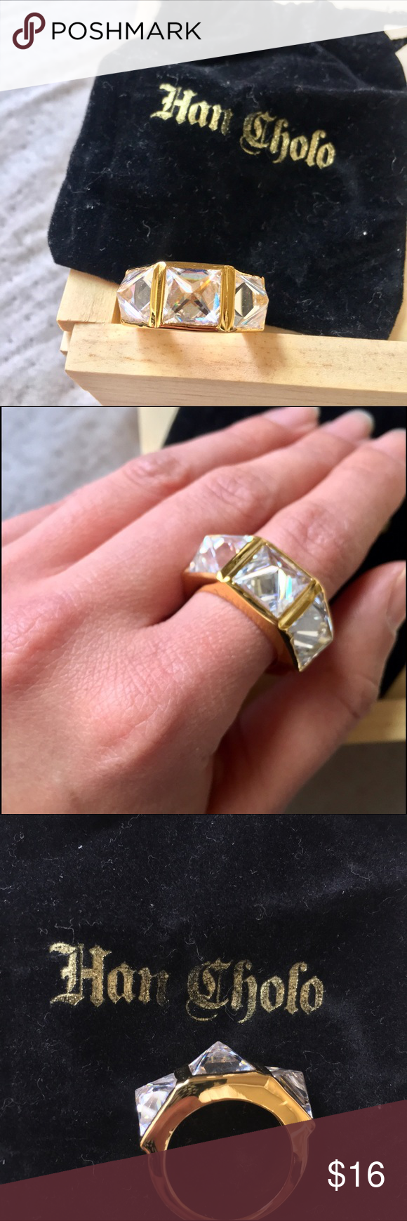 Crystal Spiked Gold Ring x Han Cholo (NWT)(7) Boutique | Gold rings ...