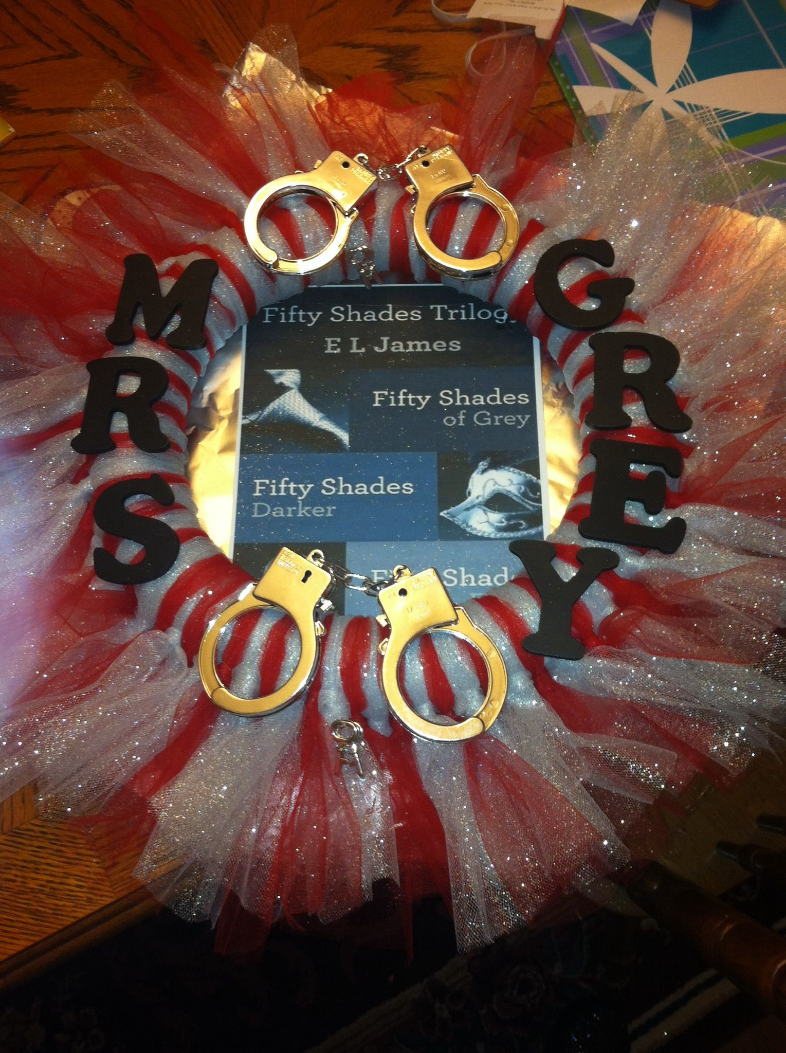 50 shades of grey wreath red for the red room of pain silver for