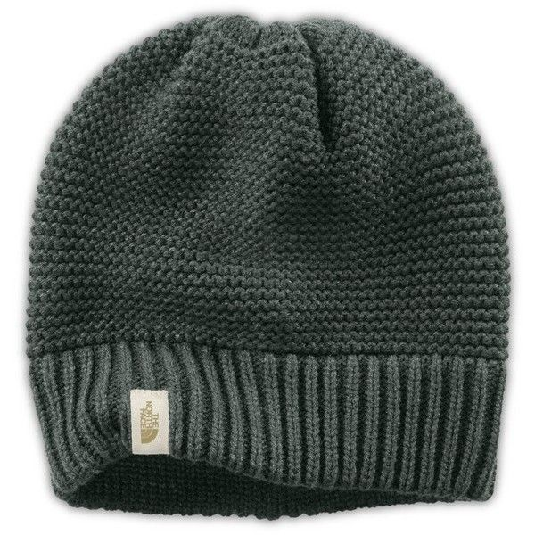 The NorthFace 'Purrl'KnitBeanie ($20) ❤ liked on Polyvore featuring accessories, hats, oscar green, green knit hat, slouch beanie hats, green beanie hat, knit slouchy beanie and knit hat