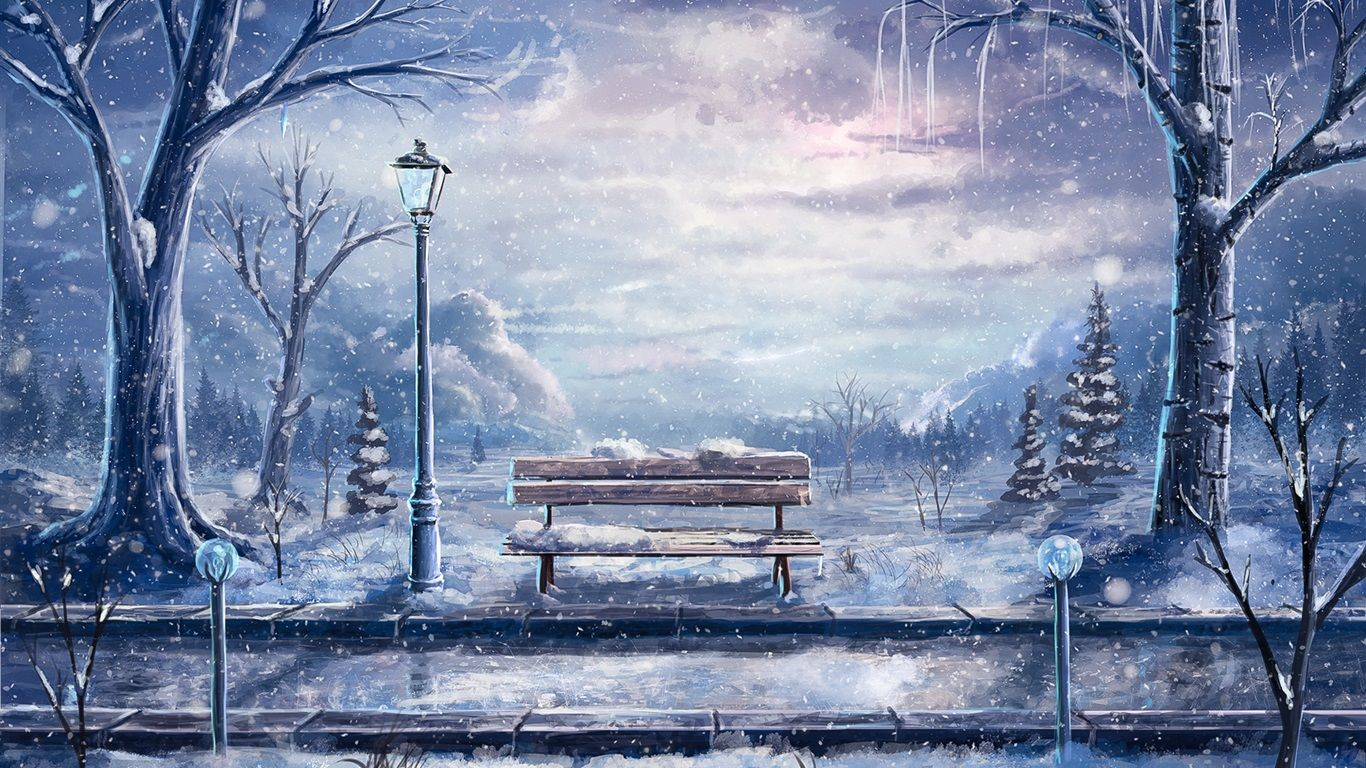 Art painting, winter, snow, bench, lantern, trees