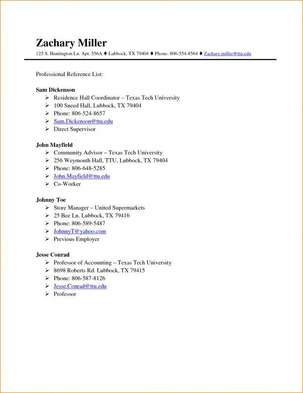 Professional Reference List Template Word Professional References Template Word Words