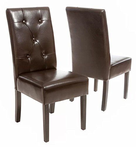 Room And Board Plywood Side Accent Chair: Tufted Leather Upholstered Dining Chairs, Set Of 2 Modern