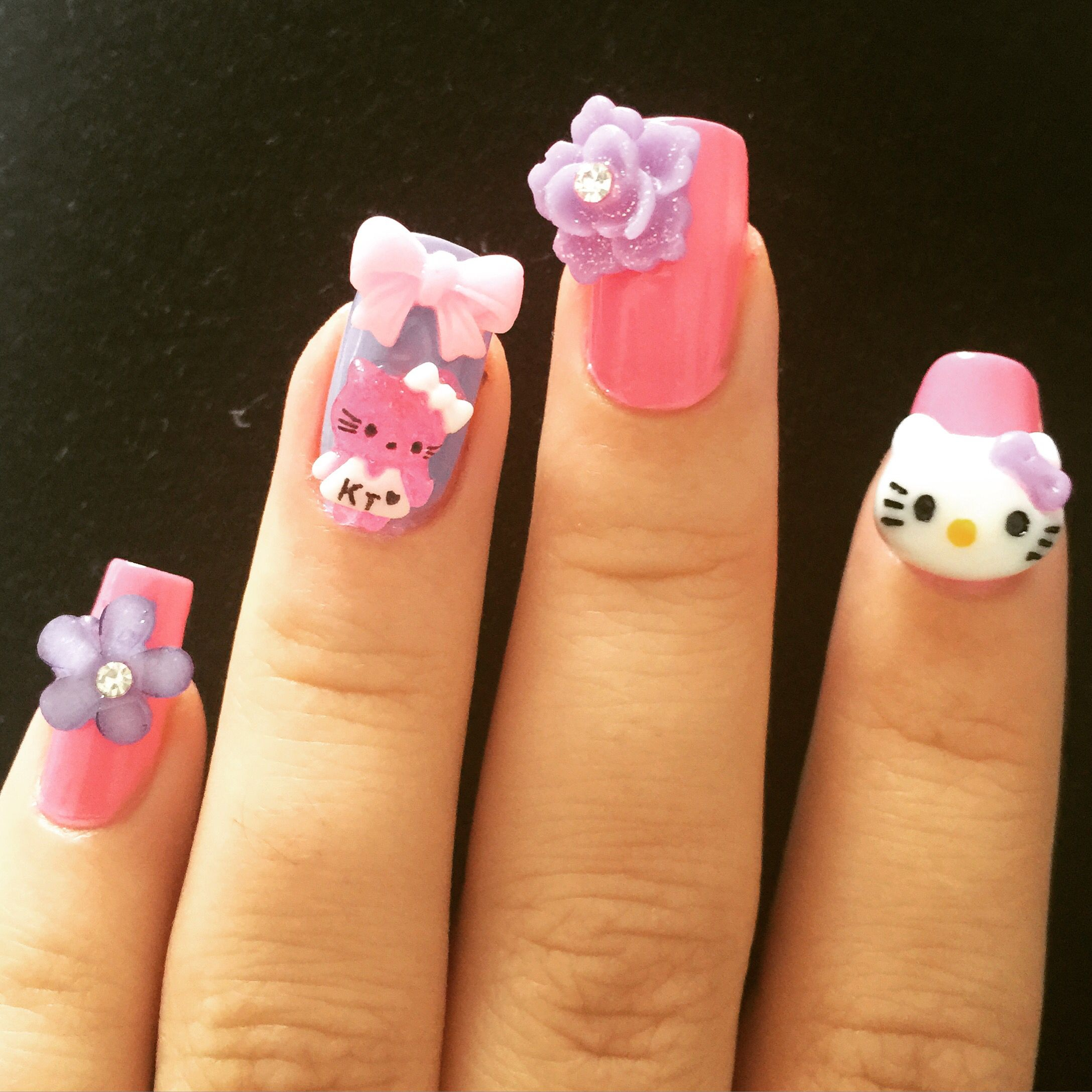 Hello kitty, bow, flower kawaii 3D Japanese nail art | nails ...