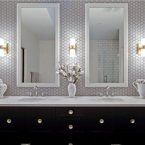 Top 70 Best Bathroom Backsplash Ideas Sink Wall Designs In 2020 Vanity Backsplash Bathroom Remodel Tile Grey Grout Bathroom