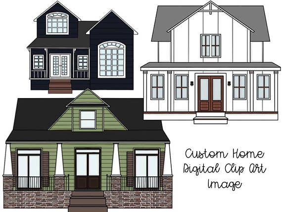 Custom Home Digital Clip Art Color And Black Line Versions Clip Art House Styles Custom Homes