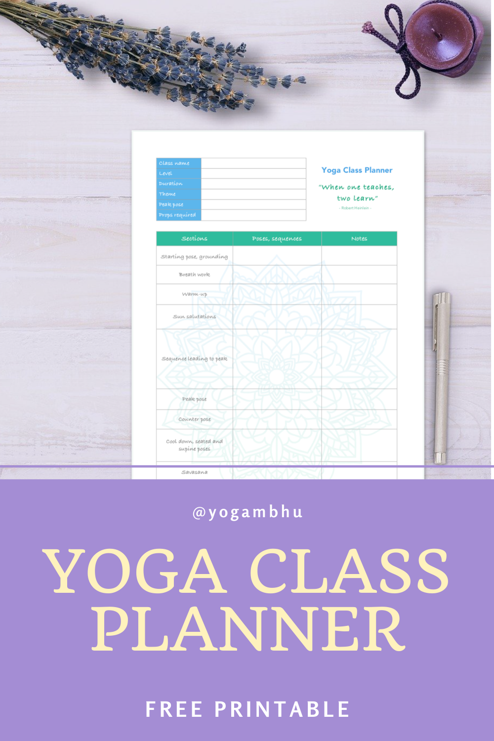Are you a yoga teacher who needs a bit more organisation with class planning? Do you love 💗 mandalas and nice stationery? Then this yoga class planner is for you. Click on the link and download the free template. Create several plans for vinyasa flow classes and keep them all arranged in a nice folder. Enjoy the yoga 🧘♀️ class planning! #yogateacher #yogaclassplanner #yogaprintable #printableforyogatechers