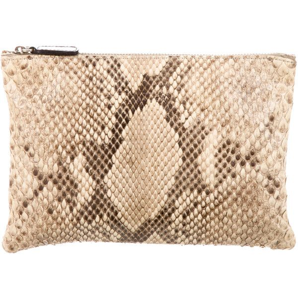 Pre-owned Anya Hindmarch Snakeskin Pouch (£180) ❤ liked on Polyvore featuring bags, handbags, clutches, snake skin purse, zipper purse, snakeskin handbags, zipper pouch and snake skin handbags