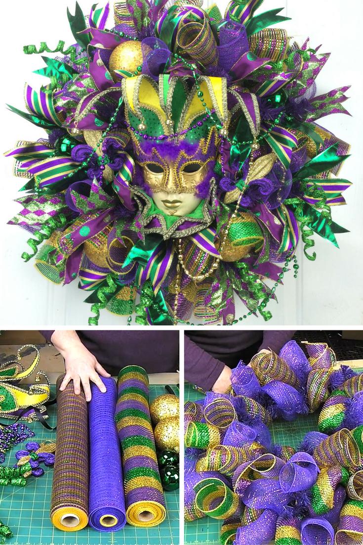 Deco Mesh Mardi Gras Wreath Training Video Southern Charm Wreaths Mardi Gras Wreath Mardi Gras Centerpieces Mardi Gras Crafts