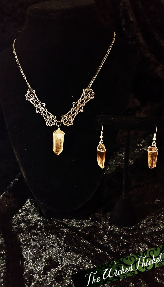 Fortuna's Gift: Golden Quartz Crystal Filigree by TheWickedThicket
