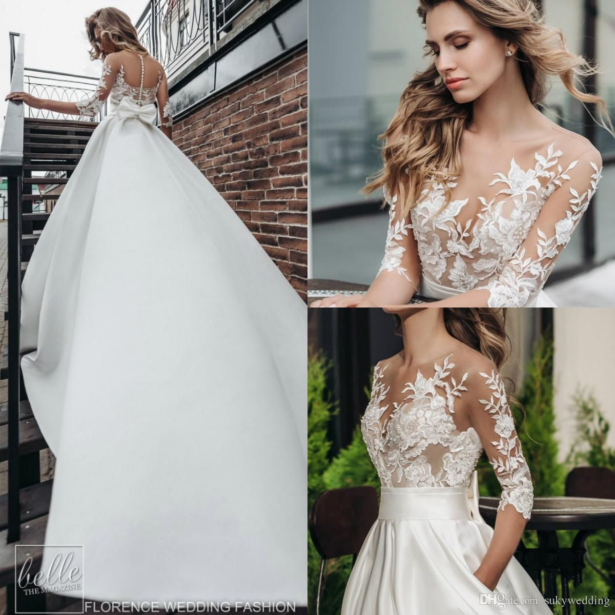 Discount20 Beach Satin Wedding Dresses With 20/20 Long Sleeves ...