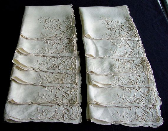 Set of 12 Large Antique 20 Madeira Napkins c.1930 by chalcroft, $48.00