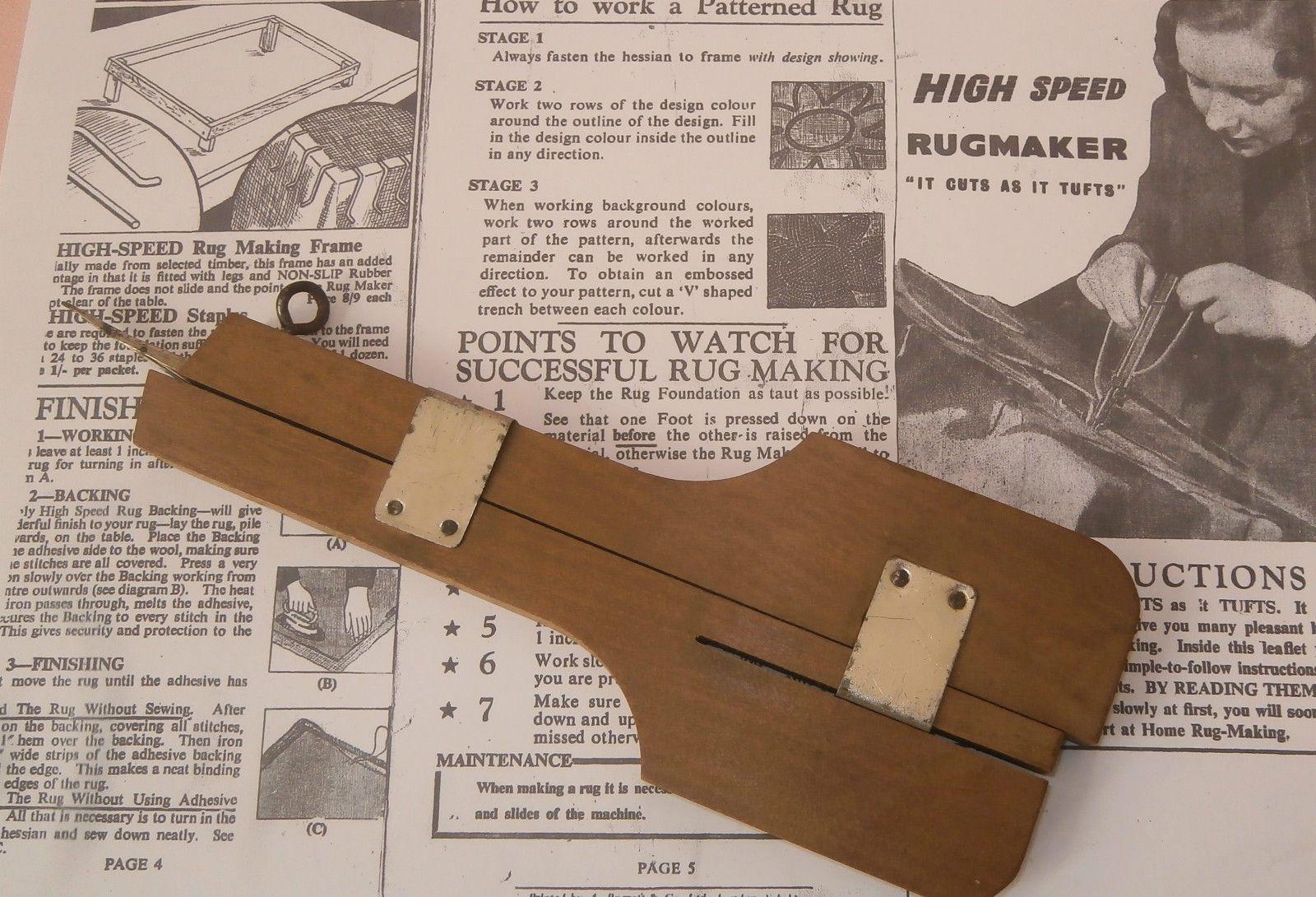 Vintage Wool Rag Rug Making Tool Wood Metal Two Hand Sd Shuttle Ebay