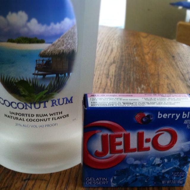 The Best Jello Shots! Coconut Rum And Berry Blue Jello