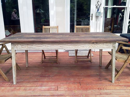 Whitewash Outdoor Dining Table made from reclaimed wood by Landrum Tables  Charleston, SC http: - Whitewash Outdoor Dining Table Made From Reclaimed Wood By Landrum