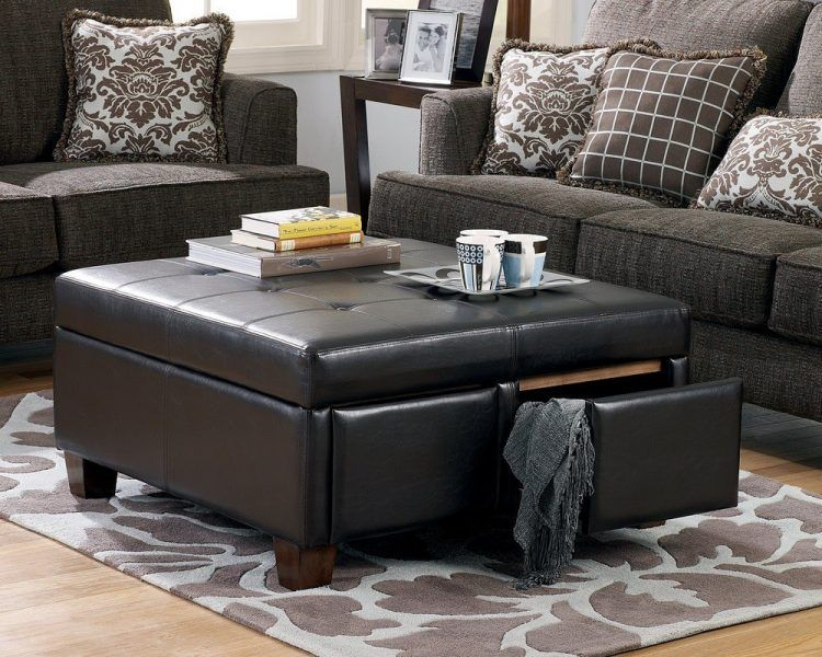 Genial Black Leather Ottoman Coffee Table With Storage