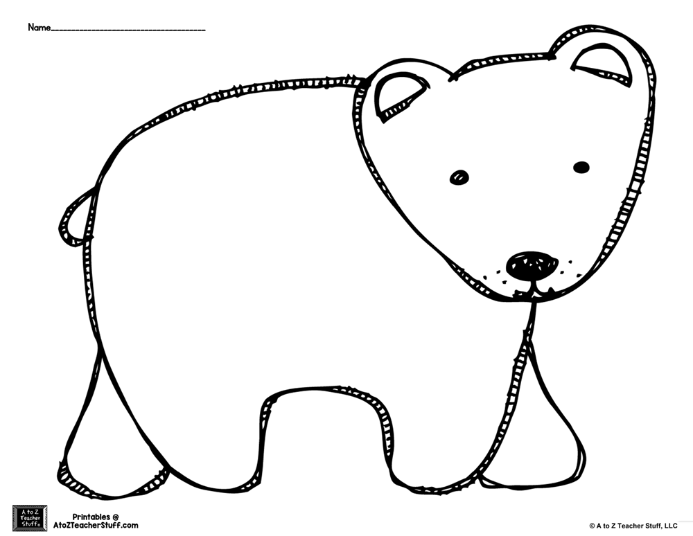 Brown Bear or Polar Bear Coloring Page or Pattern {free