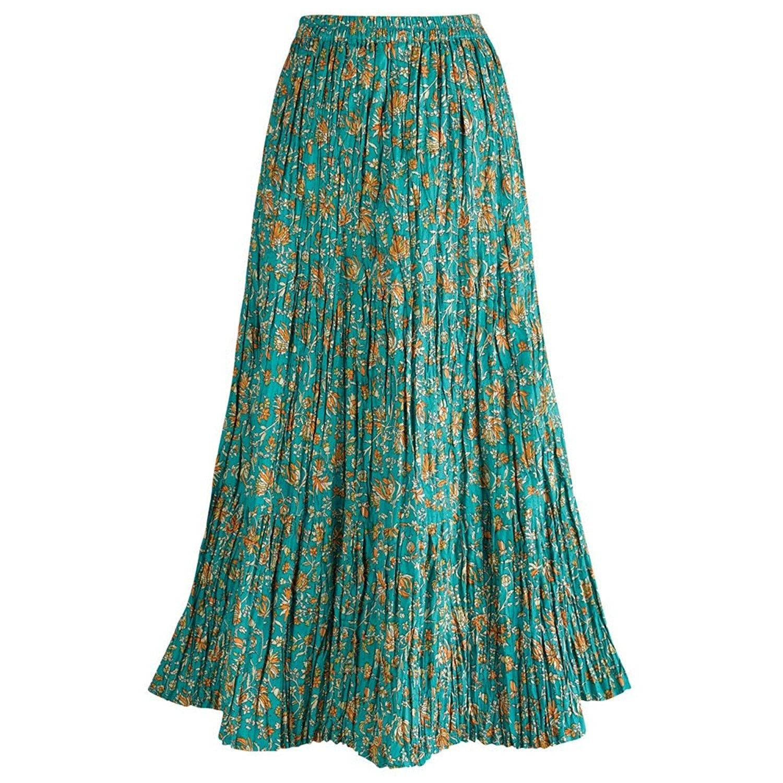 NEW size M 100/% SILK Long Ankle length Summer Blue Floral Travel Skirt