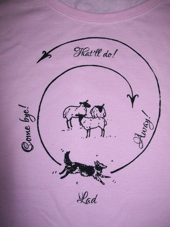 hand printed Sheep Herding collie dog illustration  T shirt by SugarHen, farming, countryside, animals, pets top makes great present gift for someone special, or treat yourself x
