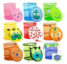 Cute Folding Animal Storage Bucket Laundry Clothes Net Basket Toy Box MPF