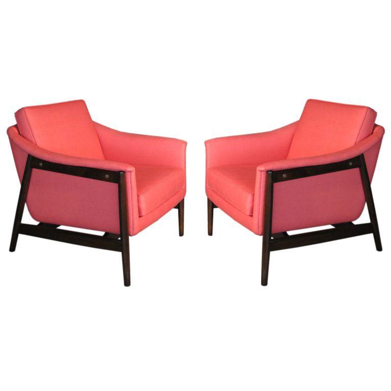 Pair Folke Ohlsson Swedish Lounge Chairs C.1950u0027s