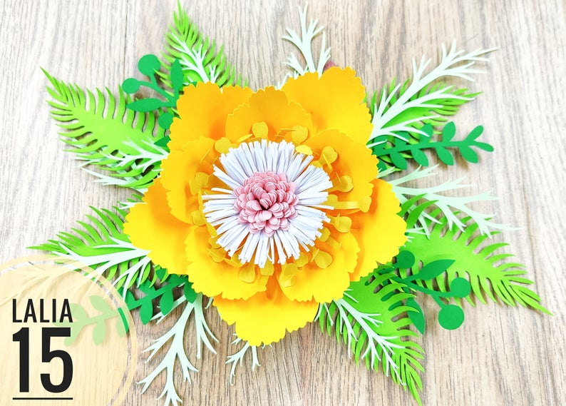 Lalia 15 Giant Paper Flowers Svg Template Yellow Tropical Etsy